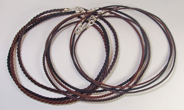 Finished jewelry cords: Handmade twisted 3-ply cord